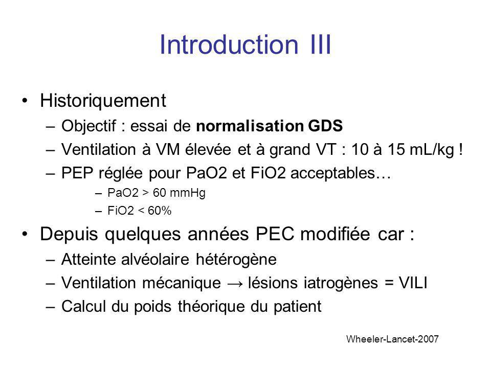 Introduction III Historiquement –Objectif : essai de normalisation GDS –Ventilation à VM élevée et à grand VT : 10 à 15 mL/kg ! –PEP réglée pour PaO2