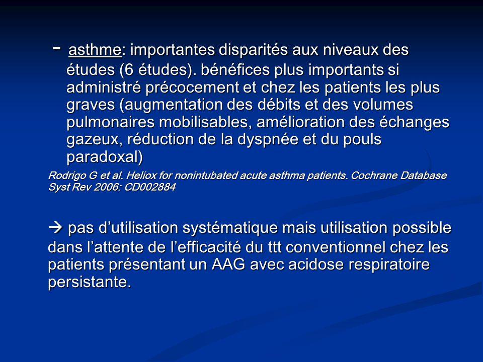 - asthme: importantes disparités aux niveaux des études (6 études). bénéfices plus importants si administré précocement et chez les patients les plus