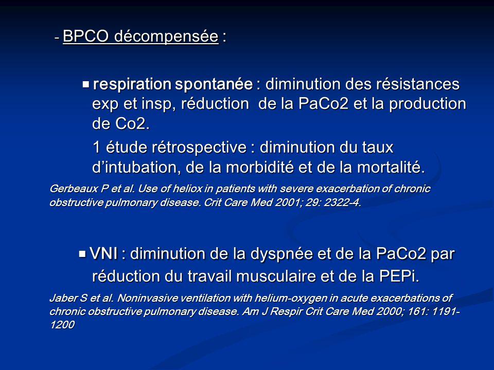 - BPCO décompensée : respiration spontanée : diminution des résistances exp et insp, réduction de la PaCo2 et la production de Co2. respiration sponta