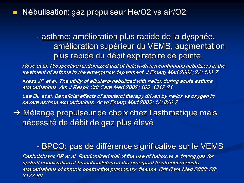 Nébulisation: gaz propulseur He/O2 vs air/O2 Nébulisation: gaz propulseur He/O2 vs air/O2 - asthme: amélioration plus rapide de la dyspnée, améliorati