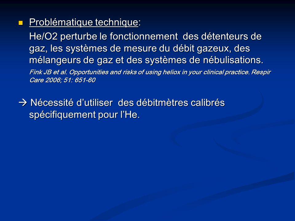 Problématique technique: Problématique technique: He/O2 perturbe le fonctionnement des détenteurs de gaz, les systèmes de mesure du débit gazeux, des