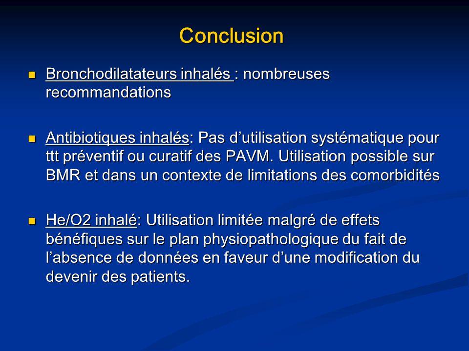 Conclusion Bronchodilatateurs inhalés : nombreuses recommandations Bronchodilatateurs inhalés : nombreuses recommandations Antibiotiques inhalés: Pas