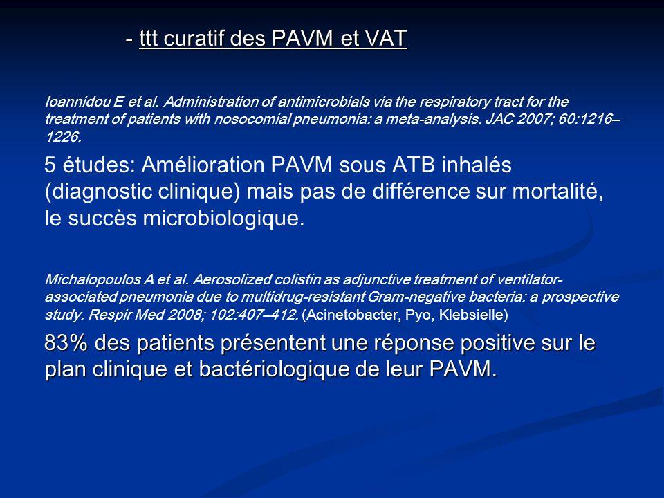 - ttt curatif des PAVM et VAT - ttt curatif des PAVM et VAT Ioannidou E et al. Administration of antimicrobials via the respiratory tract for the trea