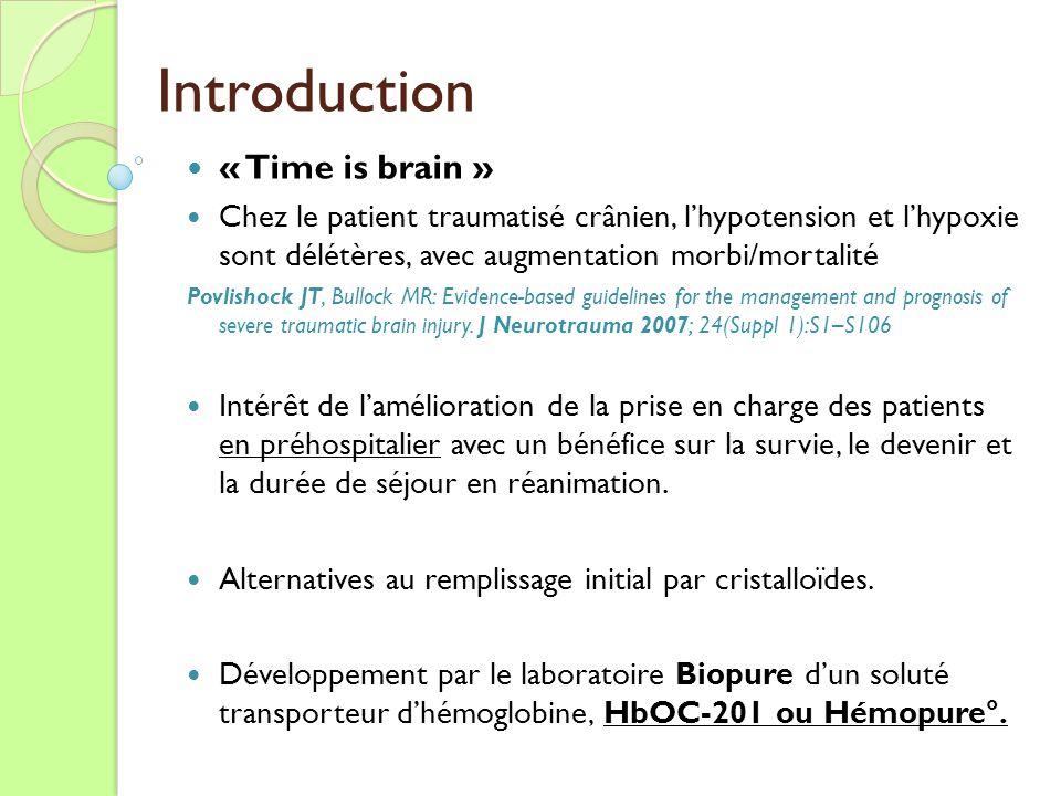 Introduction « Time is brain » Chez le patient traumatisé crânien, lhypotension et lhypoxie sont délétères, avec augmentation morbi/mortalité Povlisho
