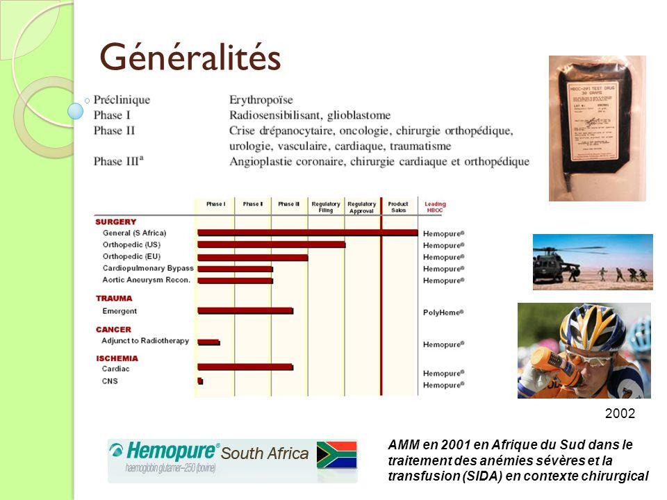 Généralités 2002 AMM en 2001 en Afrique du Sud dans le traitement des anémies sévères et la transfusion (SIDA) en contexte chirurgical