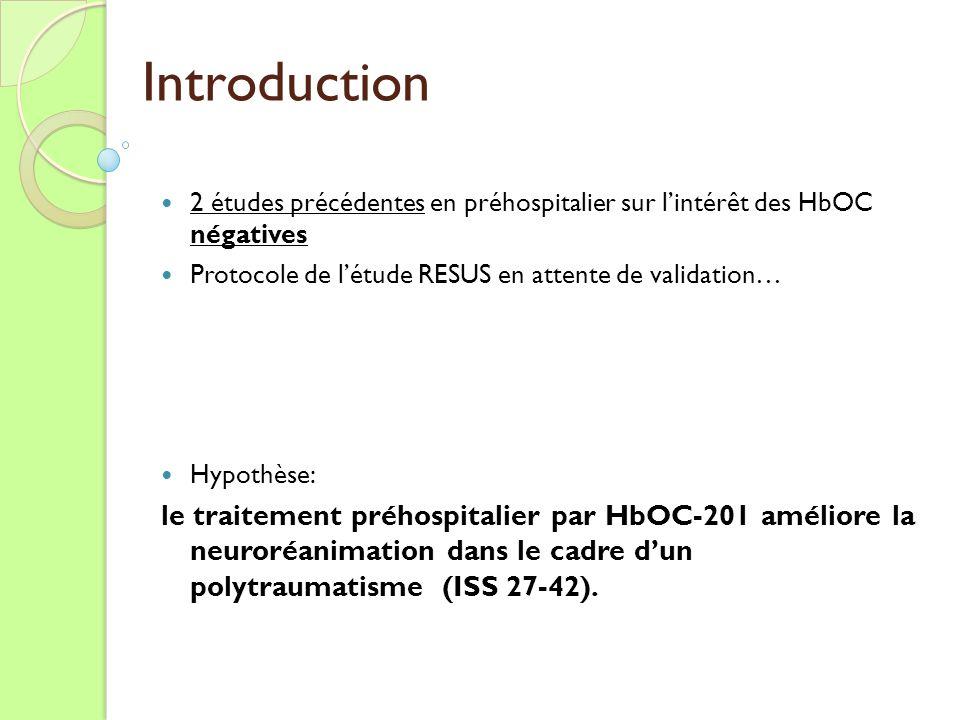 Introduction 2 études précédentes en préhospitalier sur lintérêt des HbOC négatives Protocole de létude RESUS en attente de validation… Hypothèse: le