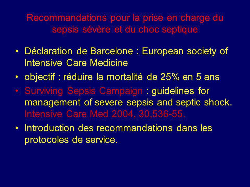 Recommandations pour la prise en charge du sepsis sévère et du choc septique Déclaration de Barcelone : European society of Intensive Care Medicine ob