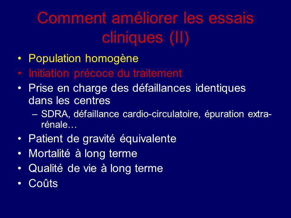 Comment améliorer les essais cliniques (II) Population homogène Initiation précoce du traitement Prise en charge des défaillances identiques dans les