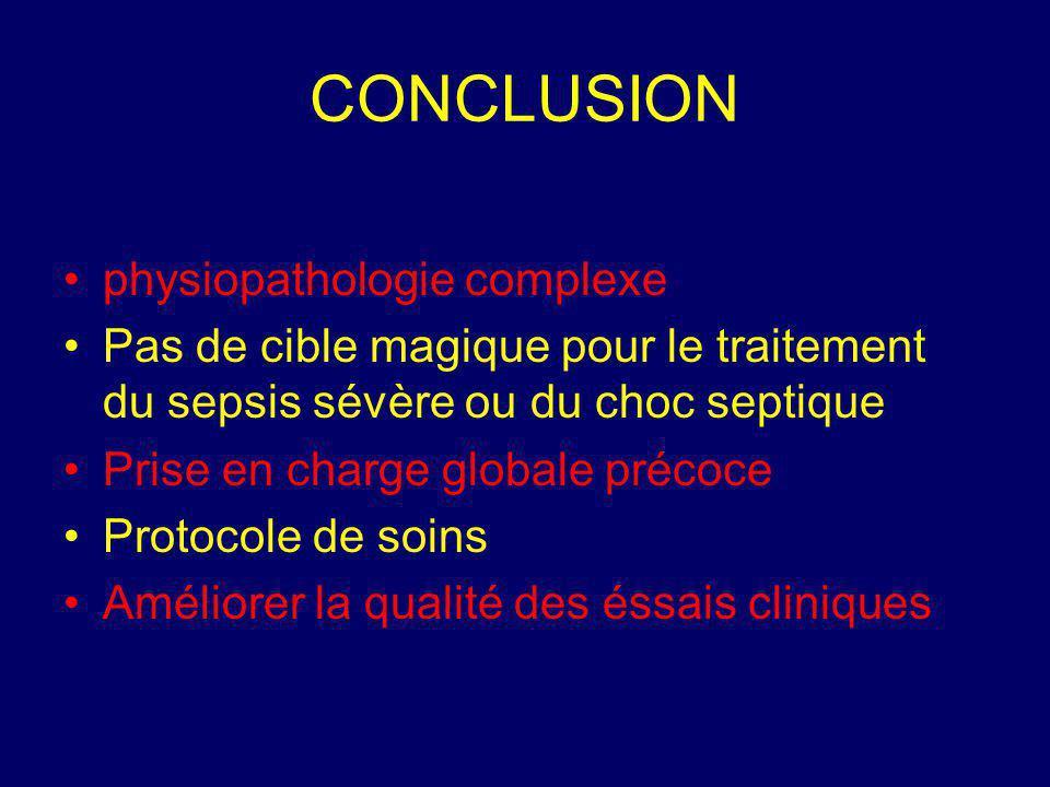 CONCLUSION physiopathologie complexe Pas de cible magique pour le traitement du sepsis sévère ou du choc septique Prise en charge globale précoce Prot
