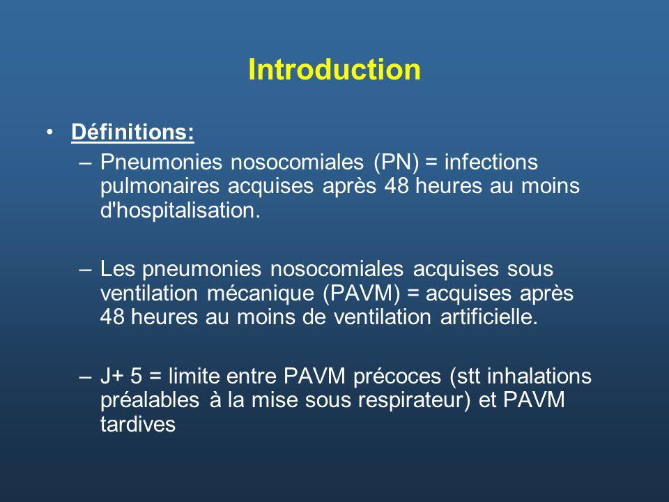 Introduction Définitions: –Pneumonies nosocomiales (PN) = infections pulmonaires acquises après 48 heures au moins d'hospitalisation. –Les pneumonies