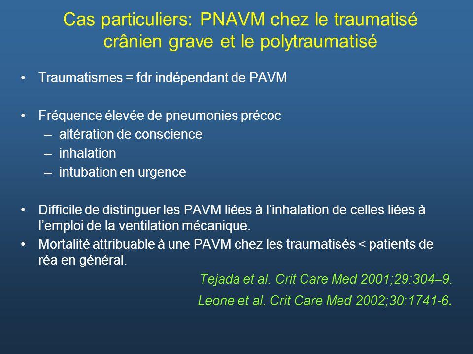 Cas particuliers: PNAVM chez le traumatisé crânien grave et le polytraumatisé Traumatismes = fdr indépendant de PAVM Fréquence élevée de pneumonies pr