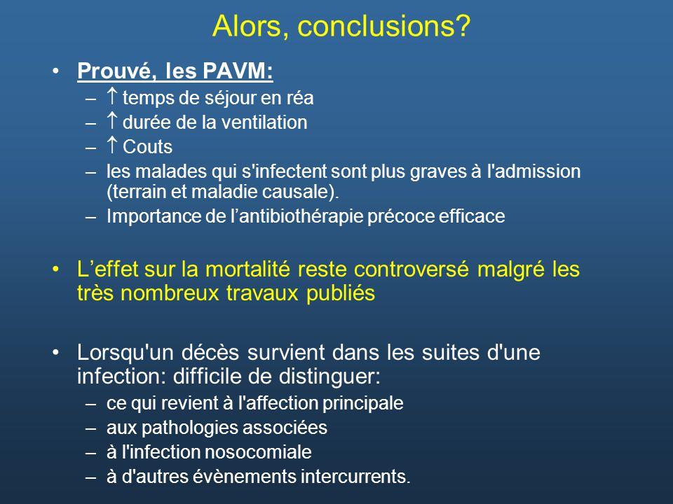 Alors, conclusions? Prouvé, les PAVM: – temps de séjour en réa – durée de la ventilation – Couts –les malades qui s'infectent sont plus graves à l'adm