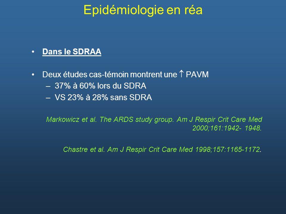 Dans le SDRAA Deux études cas-témoin montrent une PAVM –37% à 60% lors du SDRA –VS 23% à 28% sans SDRA Markowicz et al. The ARDS study group. Am J Res