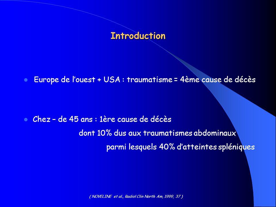 Introduction Europe de louest + USA : traumatisme = 4ème cause de décès Chez – de 45 ans : 1ère cause de décès dont 10% dus aux traumatismes abdominau