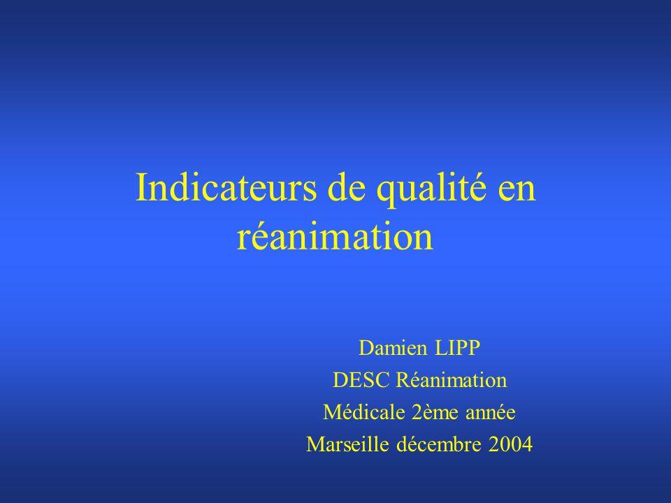 Indicateurs de qualité en réanimation Damien LIPP DESC Réanimation Médicale 2ème année Marseille décembre 2004