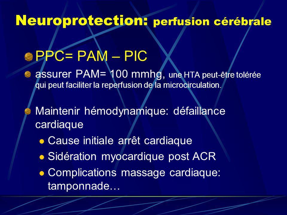 Neuroprotection: perfusion cérébrale PPC= PAM – PIC assurer PAM= 100 mmhg, une HTA peut-être tolérée qui peut faciliter la reperfusion de la microcirc