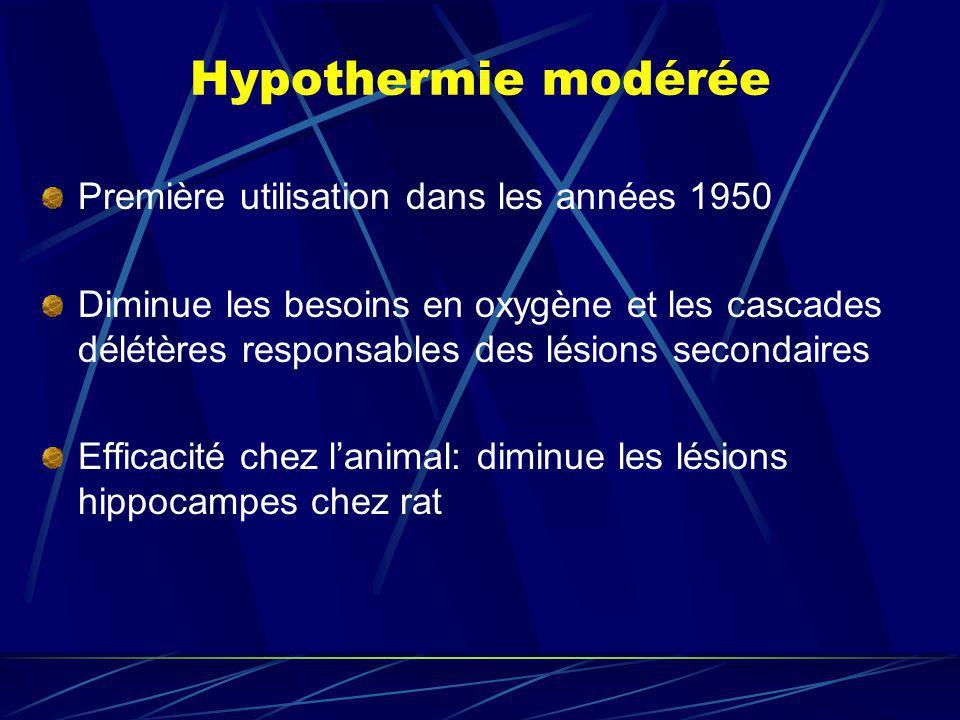 Hypothermie modérée Première utilisation dans les années 1950 Diminue les besoins en oxygène et les cascades délétères responsables des lésions second
