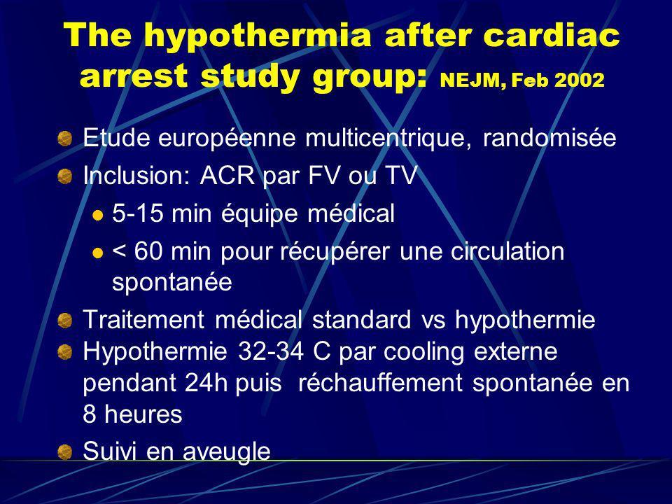 The hypothermia after cardiac arrest study group: NEJM, Feb 2002 Etude européenne multicentrique, randomisée Inclusion: ACR par FV ou TV 5-15 min équi