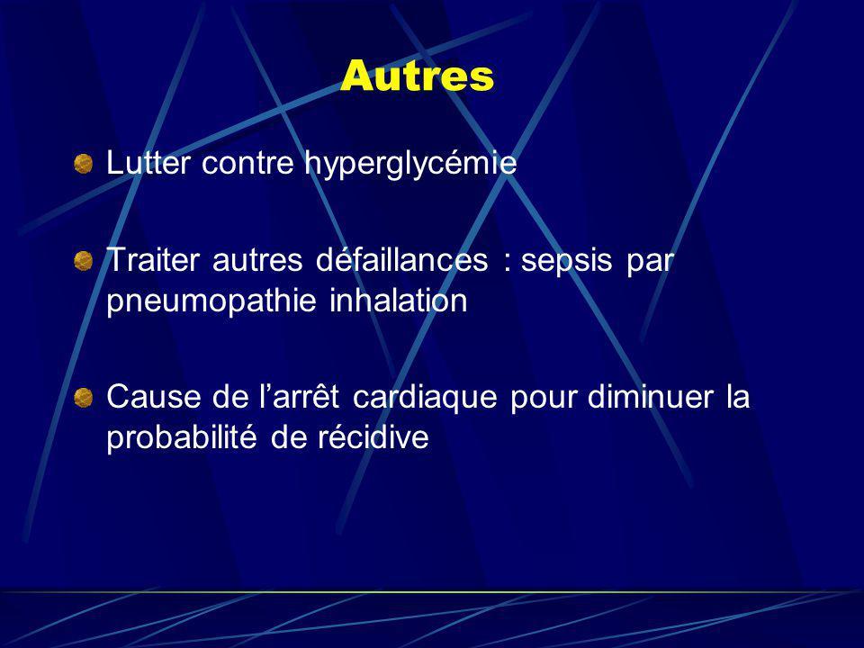 Autres Lutter contre hyperglycémie Traiter autres défaillances : sepsis par pneumopathie inhalation Cause de larrêt cardiaque pour diminuer la probabi