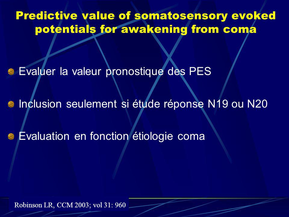 Predictive value of somatosensory evoked potentials for awakening from coma Evaluer la valeur pronostique des PES Inclusion seulement si étude réponse