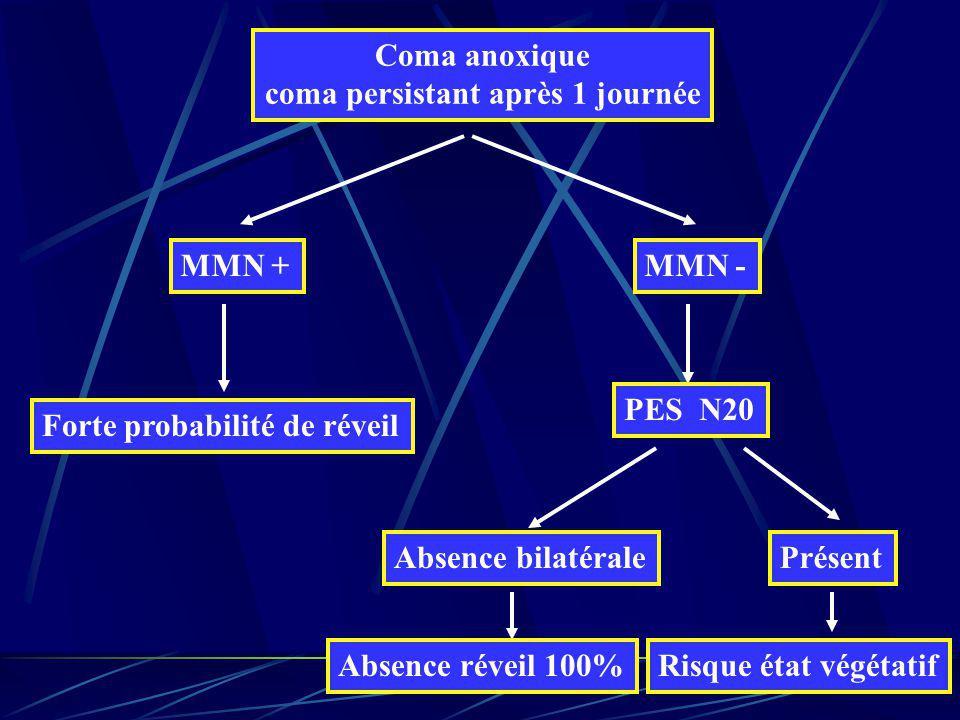 Coma anoxique coma persistant après 1 journée MMN + Forte probabilité de réveil MMN - PES N20 Absence bilatérale Absence réveil 100% Présent Risque ét