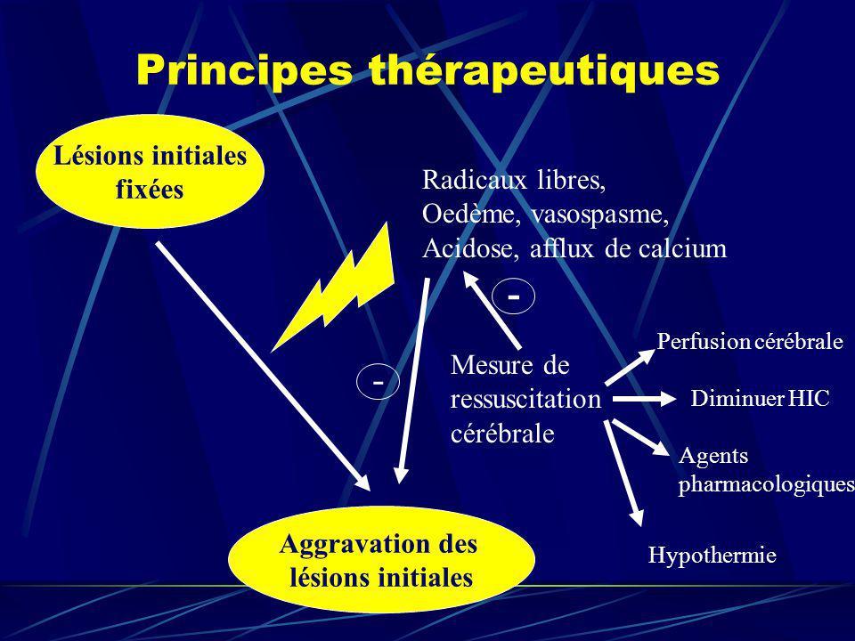 Principes thérapeutiques Lésions initiales fixées Aggravation des lésions initiales Radicaux libres, Oedème, vasospasme, Acidose, afflux de calcium Me