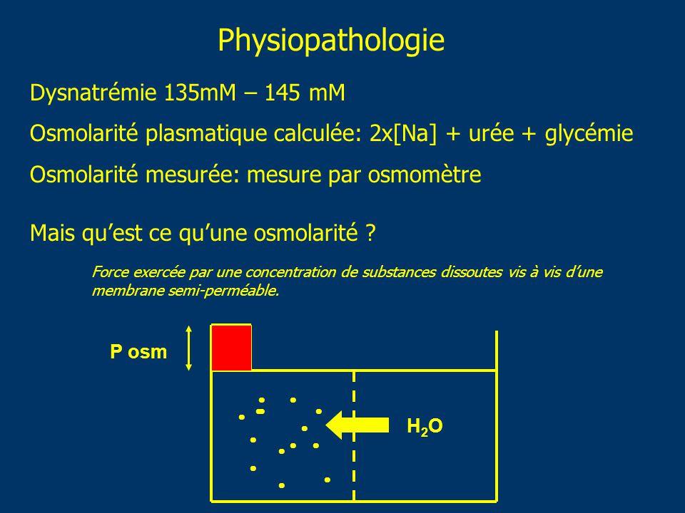 Physiopathologie Dysnatrémie 135mM – 145 mM Osmolarité plasmatique calculée: 2x[Na] + urée + glycémie Osmolarité mesurée: mesure par osmomètre Mais qu