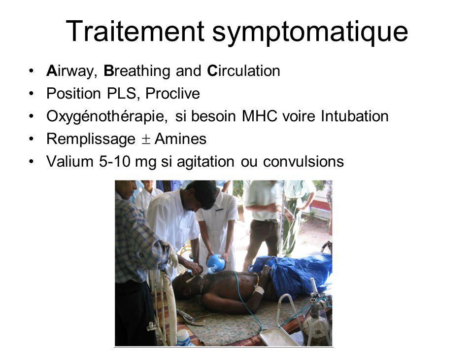 Traitement symptomatique Airway, Breathing and Circulation Position PLS, Proclive Oxygénothérapie, si besoin MHC voire Intubation Remplissage Amines Valium 5-10 mg si agitation ou convulsions