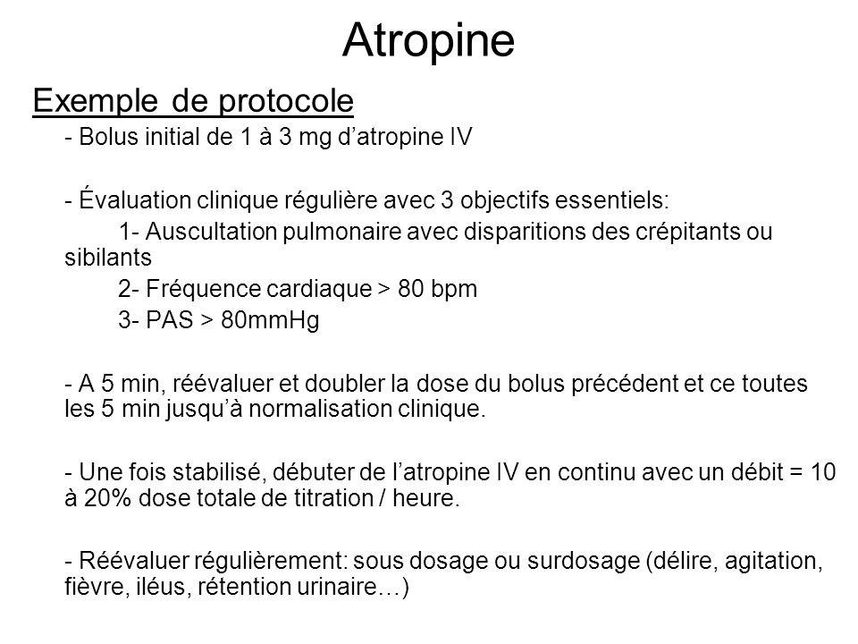 Atropine Exemple de protocole - Bolus initial de 1 à 3 mg datropine IV - Évaluation clinique régulière avec 3 objectifs essentiels: 1- Auscultation pulmonaire avec disparitions des crépitants ou sibilants 2- Fréquence cardiaque > 80 bpm 3- PAS > 80mmHg - A 5 min, réévaluer et doubler la dose du bolus précédent et ce toutes les 5 min jusquà normalisation clinique.