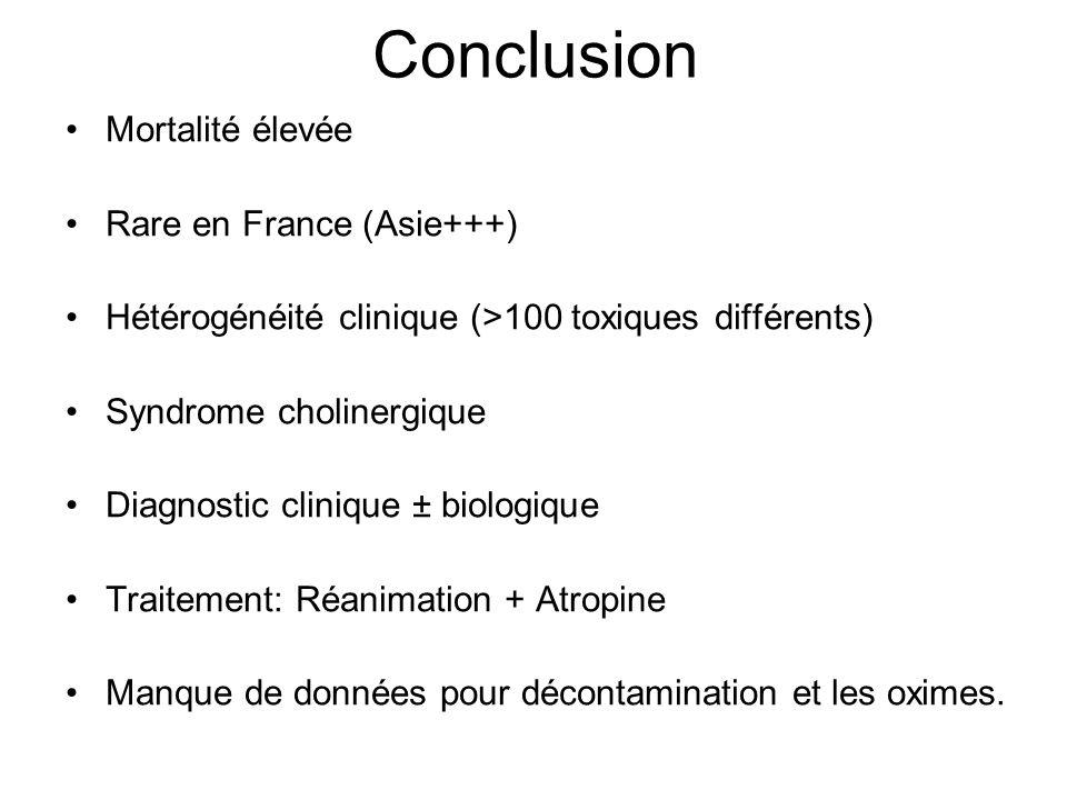 Conclusion Mortalité élevée Rare en France (Asie+++) Hétérogénéité clinique (>100 toxiques différents) Syndrome cholinergique Diagnostic clinique ± biologique Traitement: Réanimation + Atropine Manque de données pour décontamination et les oximes.