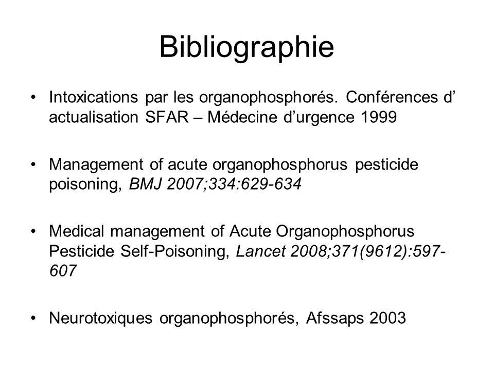 Bibliographie Intoxications par les organophosphorés.