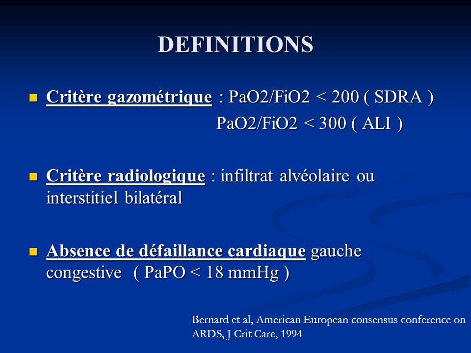 DEFINITIONS Critère gazométrique : PaO2/FiO2 < 200 ( SDRA ) Critère gazométrique : PaO2/FiO2 < 200 ( SDRA ) PaO2/FiO2 < 300 ( ALI ) PaO2/FiO2 < 300 ( ALI ) Critère radiologique : infiltrat alvéolaire ou interstitiel bilatéral Critère radiologique : infiltrat alvéolaire ou interstitiel bilatéral Absence de défaillance cardiaque gauche congestive ( PaPO < 18 mmHg ) Absence de défaillance cardiaque gauche congestive ( PaPO < 18 mmHg ) Bernard et al, American European consensus conference on ARDS, J Crit Care, 1994