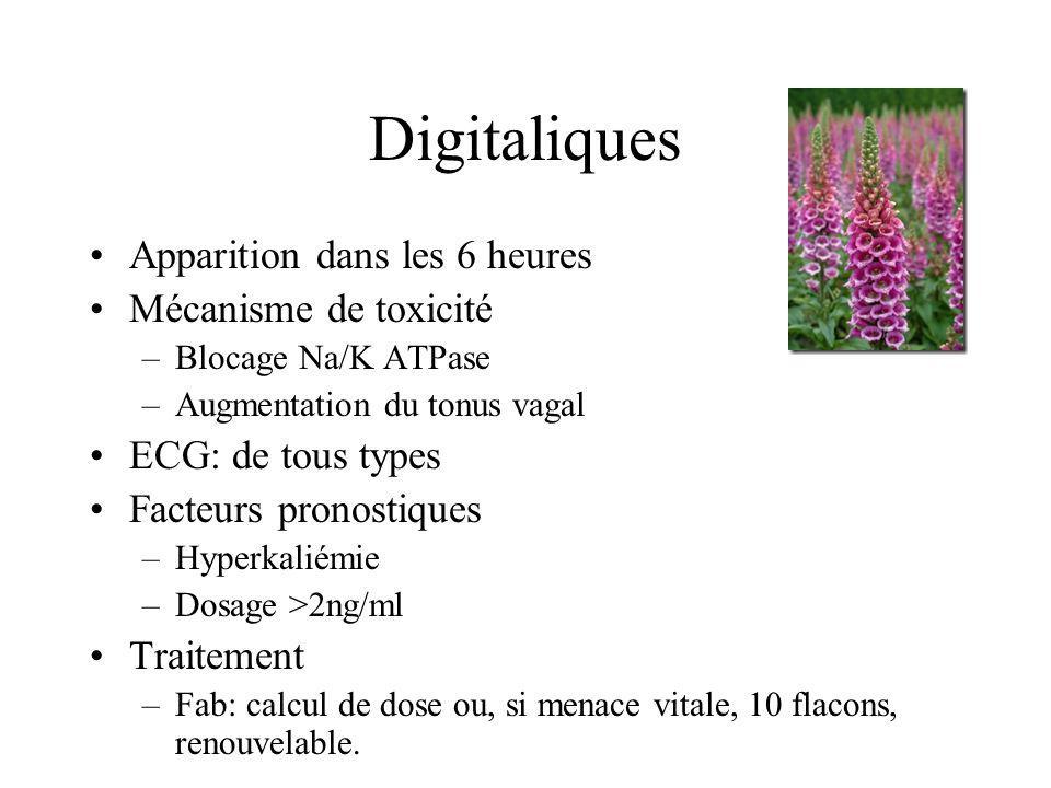 Digitaliques Apparition dans les 6 heures Mécanisme de toxicité –Blocage Na/K ATPase –Augmentation du tonus vagal ECG: de tous types Facteurs pronosti