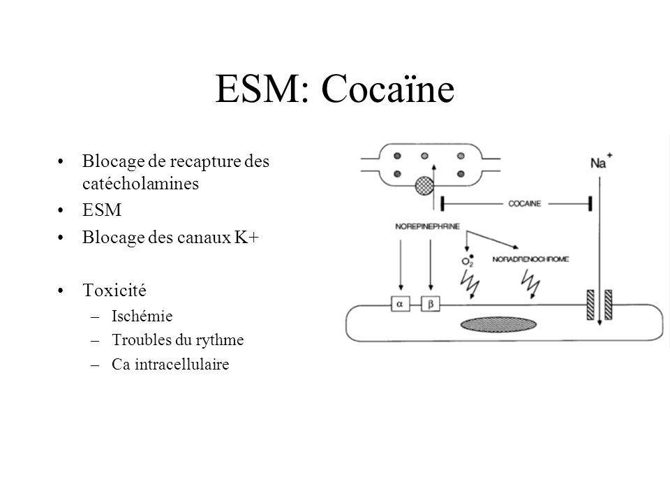 ESM: Cocaïne Blocage de recapture des catécholamines ESM Blocage des canaux K+ Toxicité –Ischémie –Troubles du rythme –Ca intracellulaire