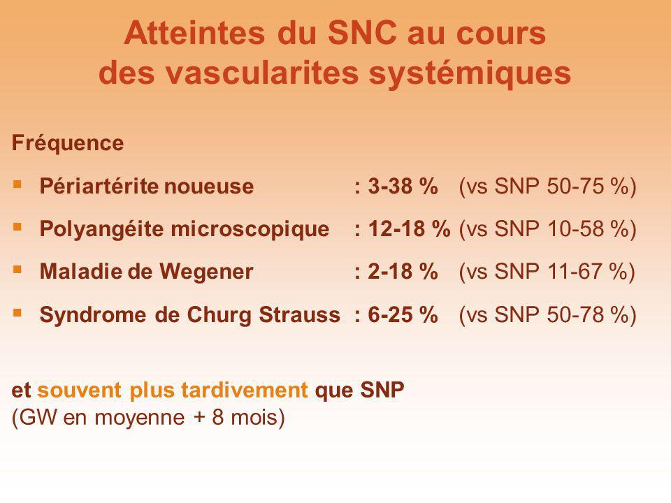 Atteintes du SNC au cours des vascularites systémiques Fréquence Périartérite noueuse :3-38 %(vs SNP 50-75 %) Polyangéite microscopique :12-18 %(vs SN