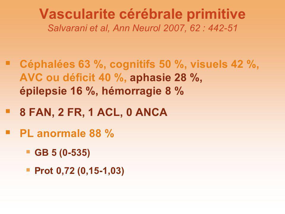 Vascularite cérébrale primitive Salvarani et al, Ann Neurol 2007, 62 : 442-51 Céphalées 63 %, cognitifs 50 %, visuels 42 %, AVC ou déficit 40 %, aphas