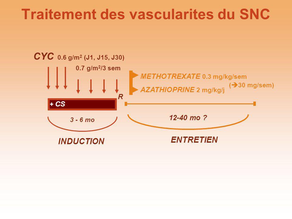 METHOTREXATE 0.3 mg/kg/sem AZATHIOPRINE 2 mg/kg/j ENTRETIEN 12-40 mo ? ( 30 mg/sem) CYC 0.6 g/m 2 (J1, J15, J30) 0.7 g/m 2 /3 sem INDUCTION 3 - 6 mo R