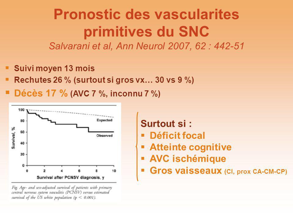 Pronostic des vascularites primitives du SNC Salvarani et al, Ann Neurol 2007, 62 : 442-51 Surtout si : Déficit focal Atteinte cognitive AVC ischémiqu