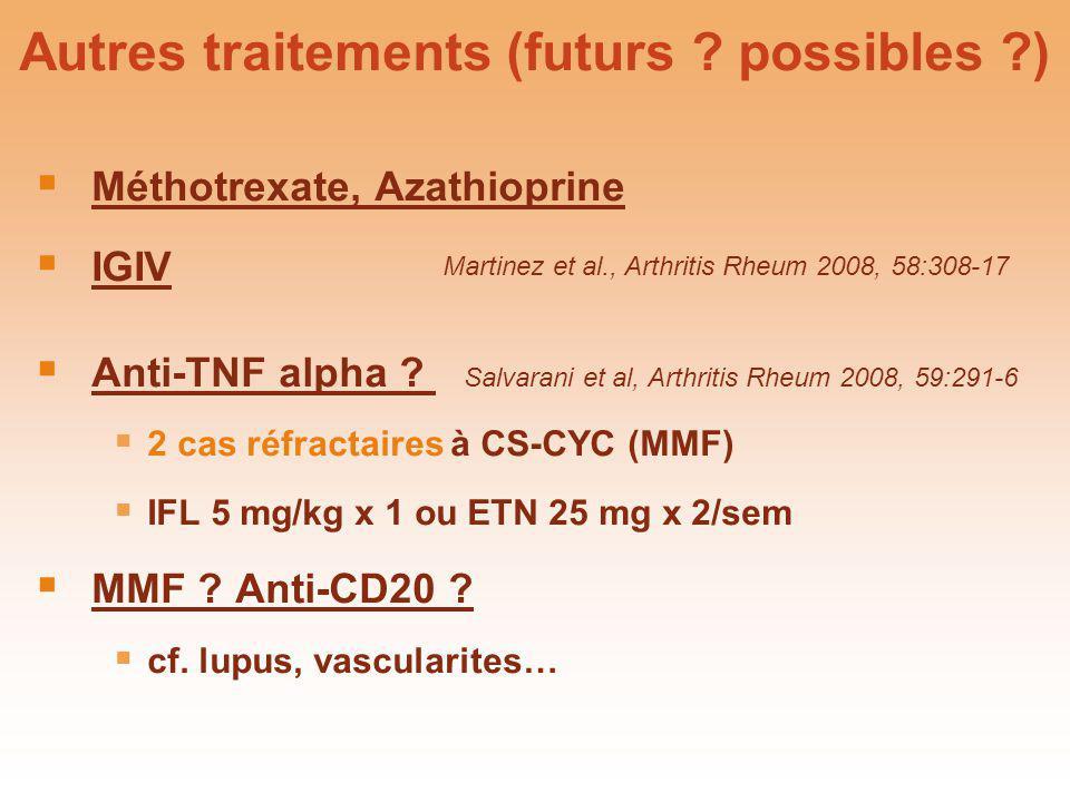 Autres traitements (futurs ? possibles ?) Méthotrexate, Azathioprine IGIV Anti-TNF alpha ? Salvarani et al, Arthritis Rheum 2008, 59:291-6 2 cas réfra