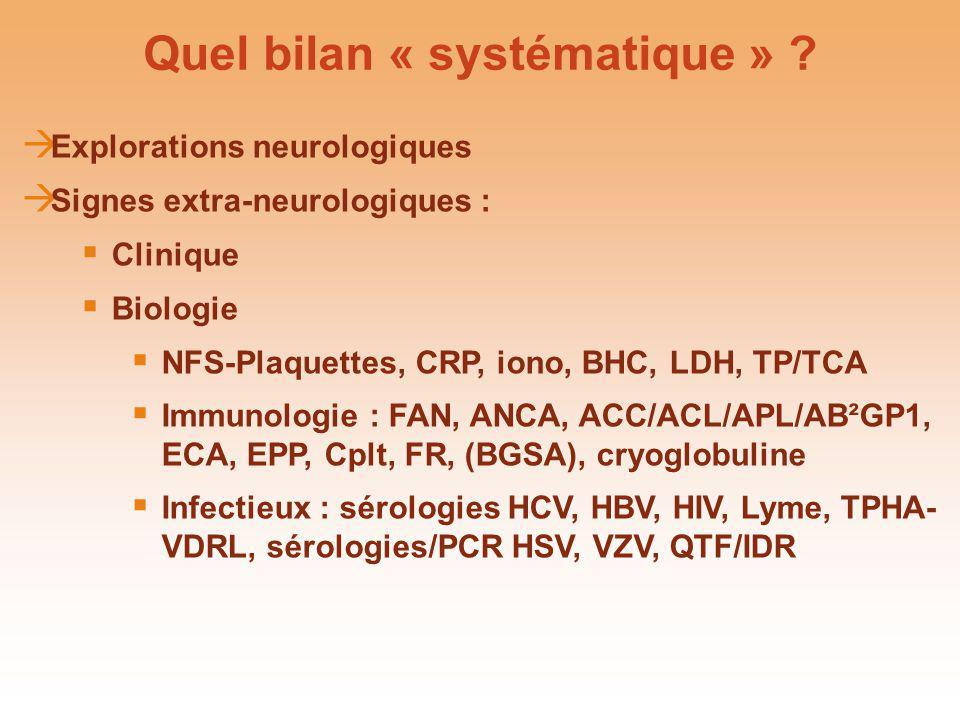 Quel bilan « systématique » ? Explorations neurologiques Signes extra-neurologiques : Clinique Biologie NFS-Plaquettes, CRP, iono, BHC, LDH, TP/TCA Im