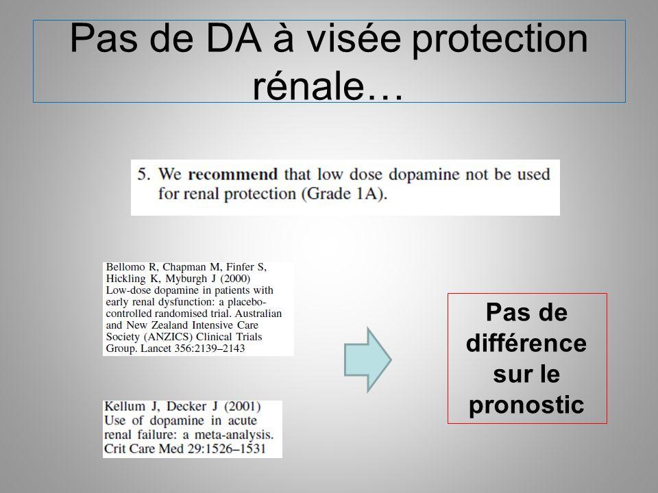 Pas de DA à visée protection rénale… Pas de différence sur le pronostic