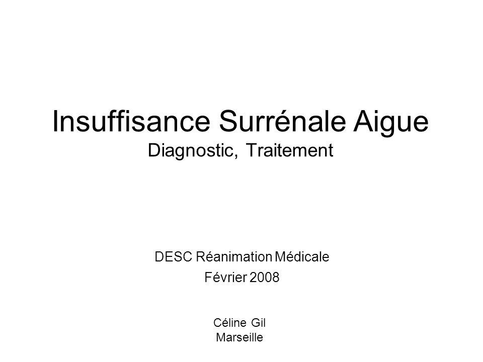Insuffisance Surrénale Aigue Diagnostic, Traitement DESC Réanimation Médicale Février 2008 Céline Gil Marseille