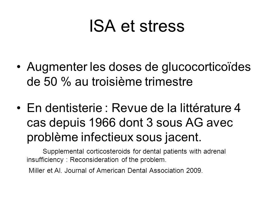 ISA et stress Augmenter les doses de glucocorticoïdes de 50 % au troisième trimestre En dentisterie : Revue de la littérature 4 cas depuis 1966 dont 3