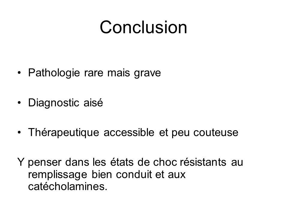 Conclusion Pathologie rare mais grave Diagnostic aisé Thérapeutique accessible et peu couteuse Y penser dans les états de choc résistants au remplissa