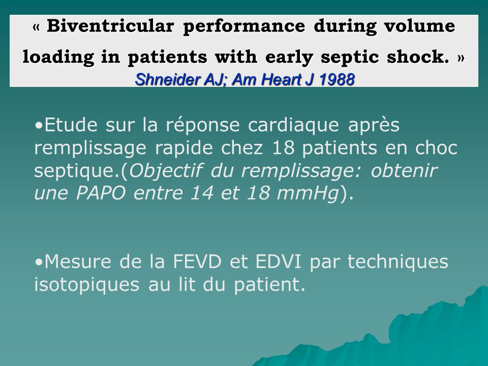 « Biventricular performance during volume loading in patients with early septic shock. » Shneider AJ; Am Heart J 1988 Etude sur la réponse cardiaque a