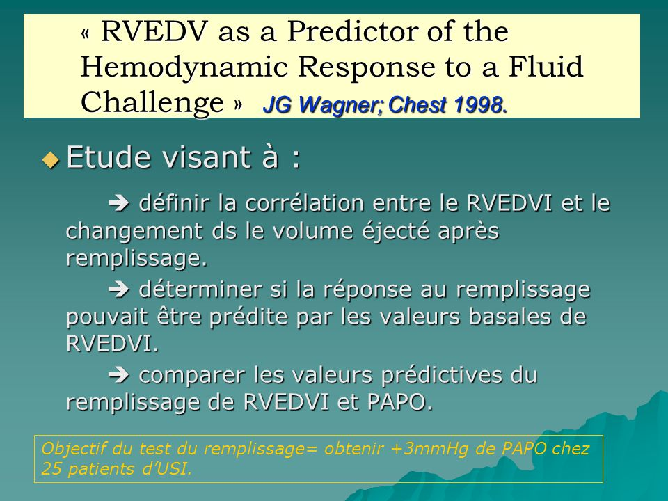 « RVEDV as a Predictor of the Hemodynamic Response to a Fluid Challenge » JG Wagner; Chest 1998.