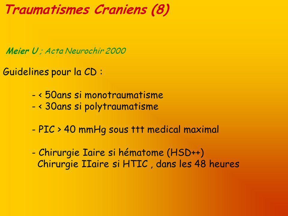 Traumatismes Craniens (8) Meier U ; Acta Neurochir 2000 Guidelines pour la CD : - < 50ans si monotraumatisme - < 30ans si polytraumatisme - PIC > 40 mmHg sous ttt medical maximal - Chirurgie Iaire si hématome (HSD++) Chirurgie IIaire si HTIC, dans les 48 heures