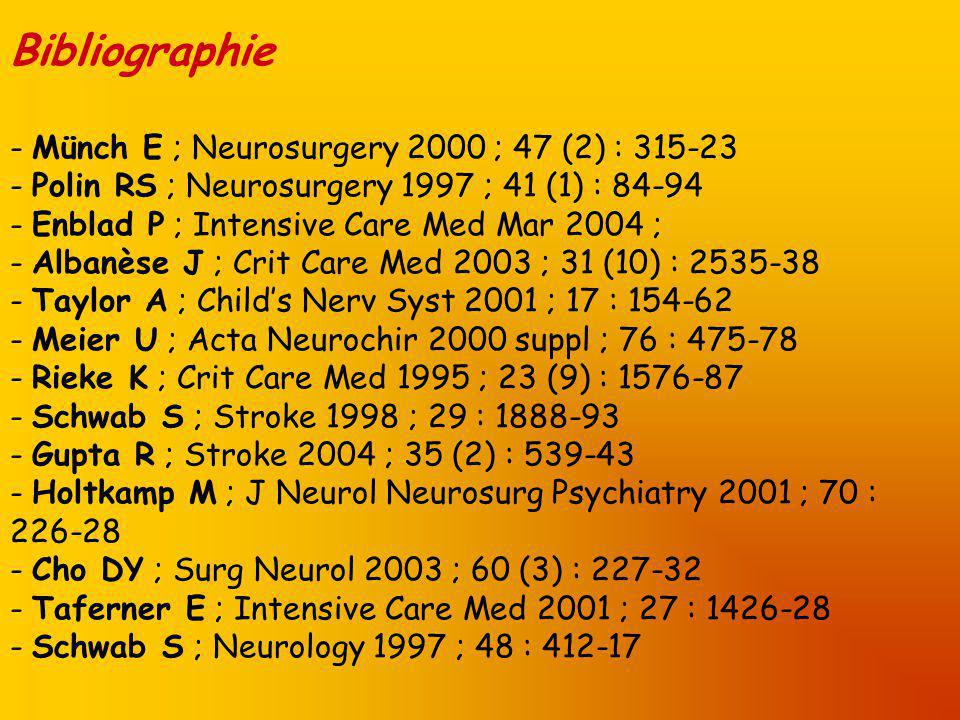 Bibliographie - Münch E ; Neurosurgery 2000 ; 47 (2) : 315-23 - Polin RS ; Neurosurgery 1997 ; 41 (1) : 84-94 - Enblad P ; Intensive Care Med Mar 2004