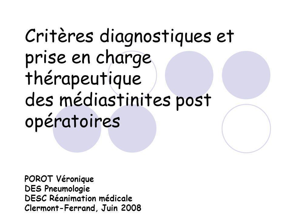 Critères diagnostiques et prise en charge thérapeutique des médiastinites post opératoires POROT Véronique DES Pneumologie DESC Réanimation médicale Clermont-Ferrand, Juin 2008