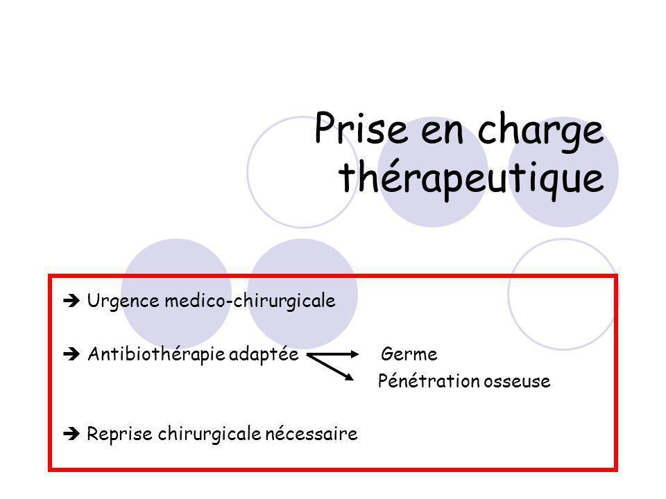 Prise en charge thérapeutique Urgence medico-chirurgicale Antibiothérapie adaptée Germe Pénétration osseuse Reprise chirurgicale nécessaire
